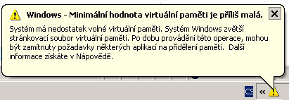Nedostatek paměti ve Windows XP